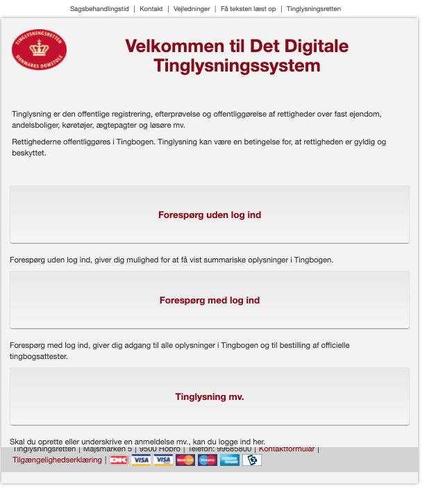 Forside på tinglysning.dk